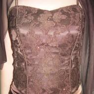 Rochie de seara lunga, distinsa, din saten si dantela