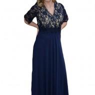 Rochie de seara lunga, masura mare, din voal si dantela bleumarin