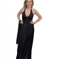 Rochie de seara lunga neagra, cu insertii de paiete in partea de sus