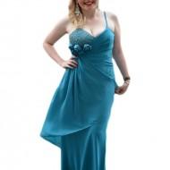 Rochie de seara lunga, vaporoasa cu insertii de strasuri, din voal turcoaz
