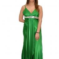 Rochie de seara lunga, verde, decolteu in V, bretele subtiri