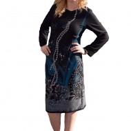 Rochie de toamna-iarna cu maneca lunga, nuanta de negru-turcoaz