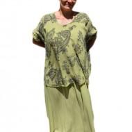 Rochie de vara culoare de verde cu imprimeu gri