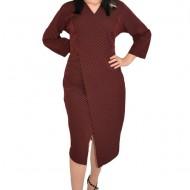 Rochie de zi Gianina cu dungi si crepeu,maneca trei sferturi,nuanta de negru-rosu