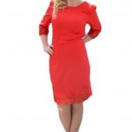 Rochie deosebita, de culoare rosie, insertii fashion aplicate