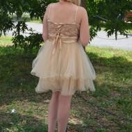 Rochie eleganta aurie cu broderie infrumusetata cu paiete mici