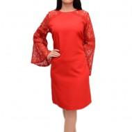 Rochie eleganta cu maneca lunga, transparenta, nuanta rosu inchis