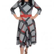Rochie eleganta Dalah cu imprimeu geometric negru cu rosu,croi empire,nuanta de gri