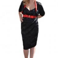Rochie eleganta de ocazie cu bolero, neagra, din saten lucios