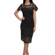 Rochie eleganta de ocazie din macrame cu insertii de paiete,nuanta neagra