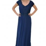 Rochie eleganta, de seara, bleumarin, voal cu insertii de dantela