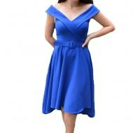 Rochie eleganta Fiene cu decolteu in V,nuanta de albastru