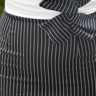 Rochie eleganta in tendinte, culoare neagra cu dungi subtiri albe