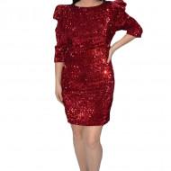 Rochie eleganta Liana cu paiete si maneci bufante,rosu