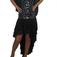 Rochie eleganta lunga, insertii de paiete argintii si trena din volanase