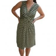 Rochie Eleonor cu imprimeu de cercuri ,nuanata de verde