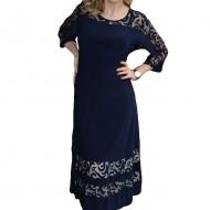 Rochie fashion cu insertii tip plasa, nuanta bleumarin, masura mare