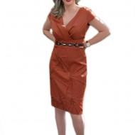 Rochie fashion din material cu tinuta, nuanta maro, model fronsat