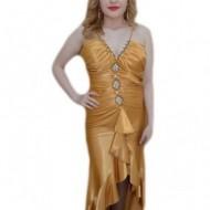 Rochie fashion din saten, nuanta aurie, decor de cristale