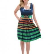 Rochie feminina cu pliuri, cu dungi colorate