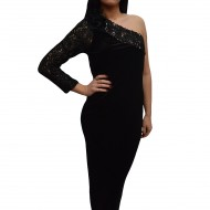 Rochie feminina de ocazie, culoare neagra, model one-shoulder