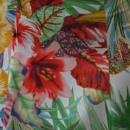 Rochie feminina, de vara, imprimeu floral pe fond alb