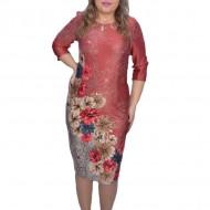 Rochie Gretchen caramizie cu imprimeu floral