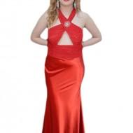 Rochie lunga de ocazie, nuanta de rosu, design fashion