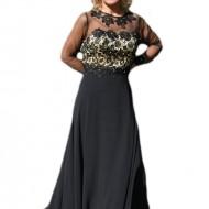 Rochie lunga de seara cu broderie florala 3D, culoare neagra