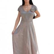 Rochie lunga de seara, model evazat, culoare pudra