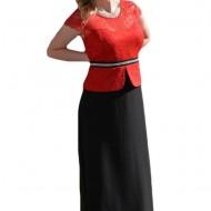 Rochie lunga din voal negru si dantela rosie, masura mare