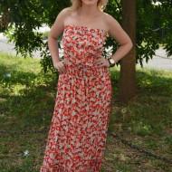 Rochie lunga fara bretele, flori mici pe fond de culoare corai