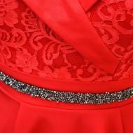 Rochie Makenzie cu insertii de dantela,nuanat de rosu
