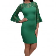 Rochie mulata pentru ocazie, cu insertii de dantela, nuanta verde