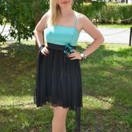 Rochie rafinata, scurta, bicolore , negru-turcuaz