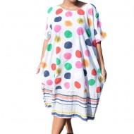 Rochie Ruenilde, din bumbac, imprimeu cu buline colorate, nuanta alb