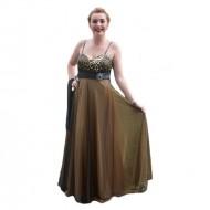 Rochie superba, impresionanta, cu material animal print, maro-auriu