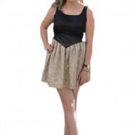 Rochie tinereasca scurta, model elegant, culoare negru-auriu