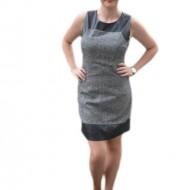 Rochie tip sarafan, de culoare gri, incadrata cu piele ecologica