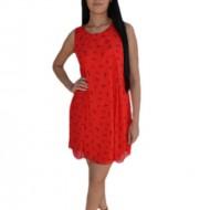 Rochie vaporoasa din voal, culoare rosie cu imprimeu negru