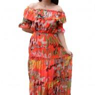 Rochie vaporoasa Veerel cu imprimeu modern ,nuanta de portocaliu