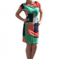 Rochii casual, model scurt, de zi, cu imprimeu multicolor in forme geometrice
