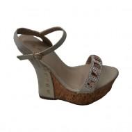 Sandale cu toc inalt, moderne, in nuante de bej