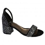 Sandale cu toc mediu argintii cu sclipici
