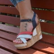 Sandale din piele naturala, cu toc ortopedic si platforma , tricolore