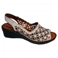 Sandale rafinate cu platforma si model de perforatii,nuanta de bej