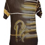 Tricou barbatesc, de culoare maro, cu imprimeu grafic colorat