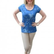 Tricou din bumbac, de culoare albastra cu imprimeu floral