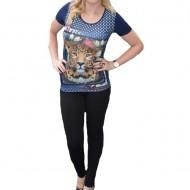 Tricou fashion cu imprimeu in fata, culoare bleumarin, cu cristale