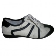 Adidas de vara cu perforatii, de culoare alba cu detalii negre